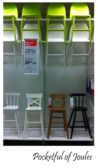 chairs display at Ikea & Ikea Success: Finding a Chair for my Giant Toddler - Pocketful of Joules