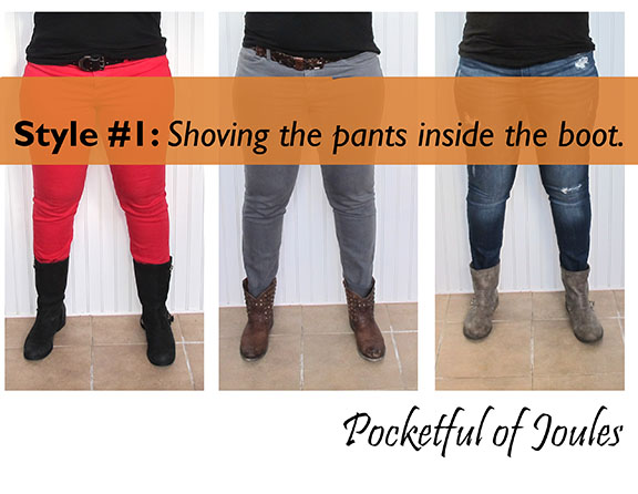 Style one - shoving the pants inside the boots.
