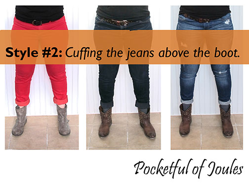 Style two - cuffing jeans above boot