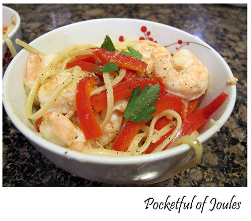Hello Fresh review- Lemony Shrimp Linguine with Roasted Red Peppers