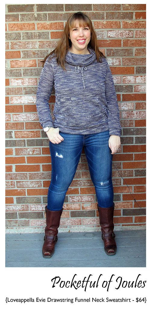 Loveappella Evie Drawstring Funnel Neck Sweatshirt - Stitch Fix Review