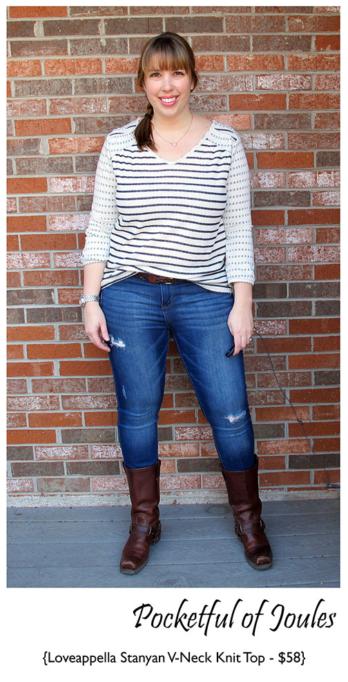 Loveappella Stanyan v-neck knit top - Stitch Fix Review