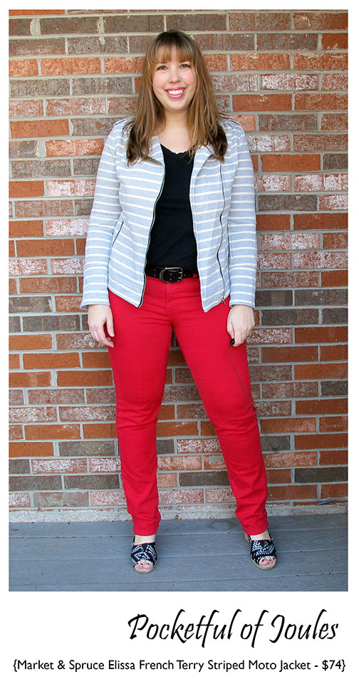 Market and Spruce Elissa French Terry Striped Moto Jacket - Stitch Fix Review