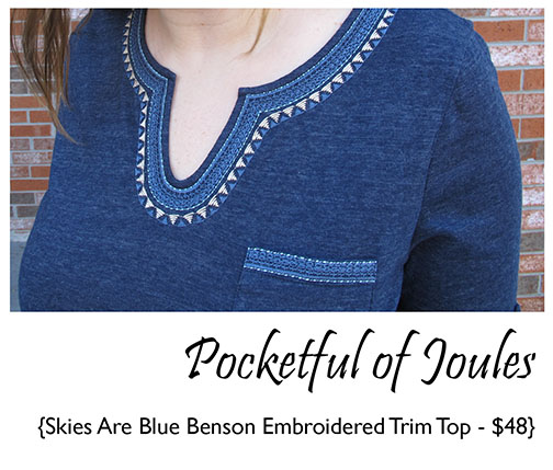 Skies are Blue Benson Embroidered Trim Top close up - Stitch Fix Review