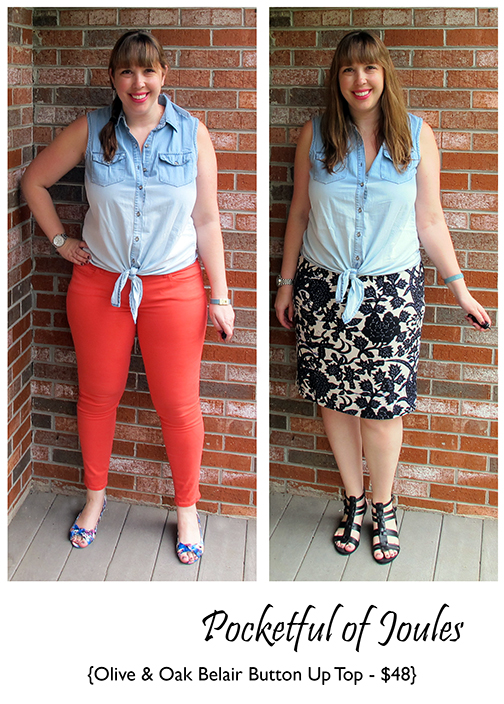 Stitch Fix Review - Olive Oak Belair Button Up Top - Joules