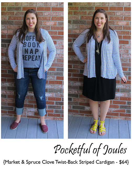 Stitch Fix Market and Spruce Clove Twist-Back Striped Cardigan - Pocketful of Joules