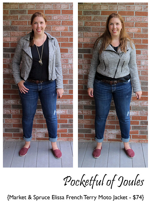 Stitch Fix Review - Market and Spruce Elissa French Terry Moto Jacket - Pocketful of Joules