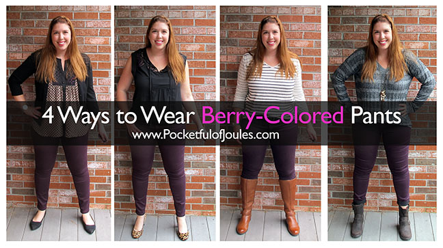 4 ways to style berry colored pants