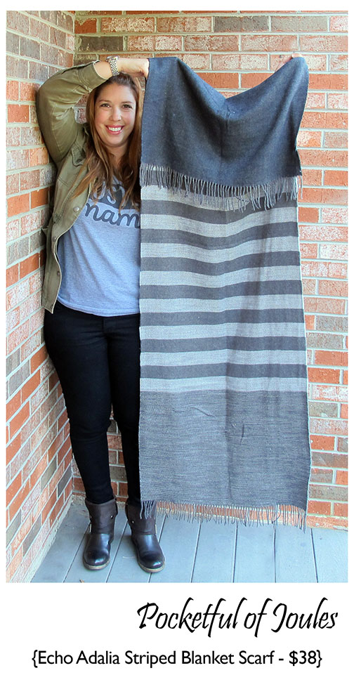 Stitch Fix Review - Echo Adalia Striped Blanket Scarf - Pocketful of Joules