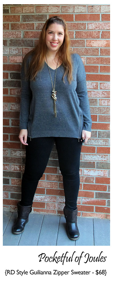 Stitch Fix Review - RD Style Gilianna V-neck Zipper Detail Sweater - Pocketful of Joules