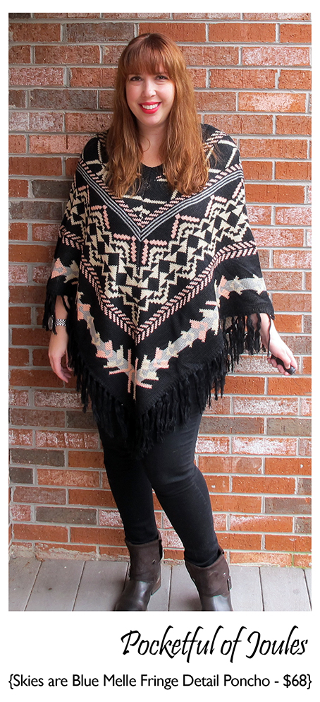 Stitch Fix Review - Skies are Blue Melle Fringe Detail Pullover Poncho - Pocketful of Joules