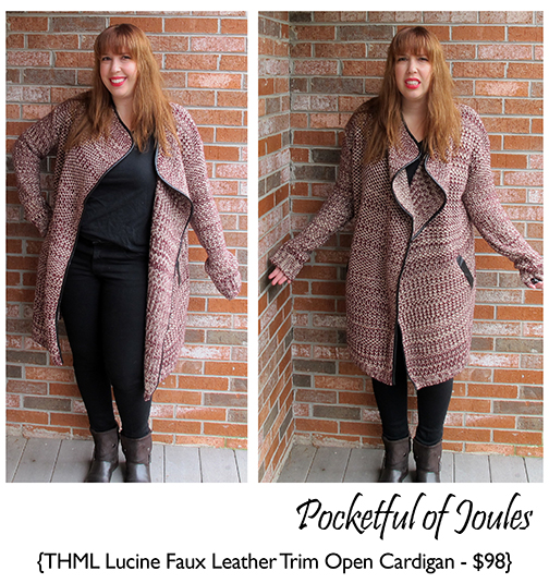 Stitch Fix Review -THML Lucine Faux Leathre Trim Open Cardigan - Pocketful of Joules