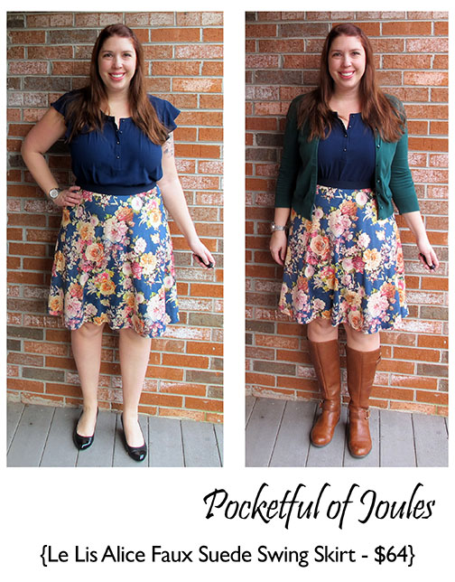Stitch Fix Review - Le Lis Alice Printed Faux Suede Swing Skirt - Pocketful of Joules