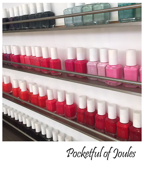 Red Door Spa - nail polish wall